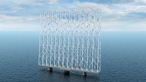 Vindfangeren: Wind Catching Systems har utviklet et nytt konsept innen flytende havvind. «Seilet» måler 350x300 meter og inneholder 117 turbiner. Skaperne sier det vil produsere fem ganger mer kraft per kvadratmeter enn en vanlig flytende vindmølle, og bli et billigere alternativ.