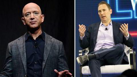 Amazons utvikling fra «internetts største butikk» til «leverandøren av selve internett» blir enda mer sentralt når gründeren Jeff Bezos (til venstre) overlater topplederjobben til Andy Jassy, skriver Ingeborg Volan.