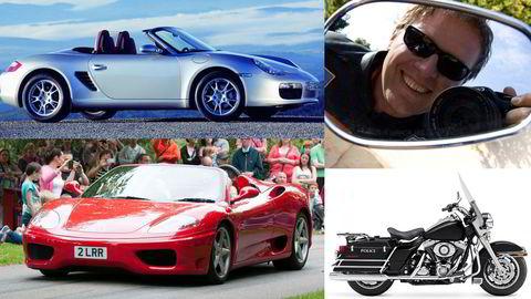 Skatteetaten har tatt pant i tre kjøretøyer i Arve Stallviks eie – en Porsche, en Ferrari og en Harley-Davidson. Bildene er illustrasjonsbilder.