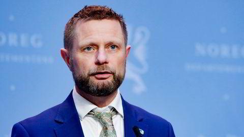 Helse- og omsorgsminister Bent Høie (H) fra en tidligere pressekonferanse om vaksinestrategi.