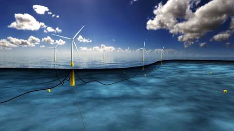 Norge bør benytte auksjoner, som andre nordsjøland, og gi konsesjon til den som kan levere vindkraft til laveste pris i konsesjonsperioden, skriver artikkelforfatterne. Illustrasjon: Equinors Hywind-park i Skottland.