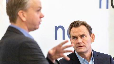 Konsernsjef Jon André Løkke (til høyre) presenterte kvartalsresultatene for selskapet på Continental torsdag morgen. Til venstre finansdirektør Kjell Christian Bjørnsen.