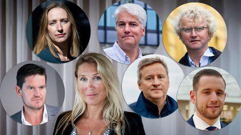 Kjersti Haugland (øverst fra venstre), Øystein Dørum, Jan Ludvig Andreassen, Kjetil Olsen, Erica Blomgren Dalstø, Frank Jullum og Dane Cekov er spente på langtidseffektene av koronakrisen.