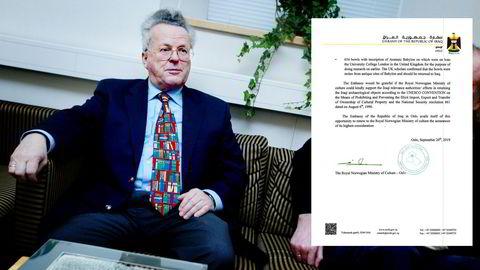 Martin Schøyen ble avbildet av DN i 2002. Innfelt er et brev fra den irakiske ambassaden i Oslo til Kulturdepartementet, der de ber om hjelp til å få antikke gjenstander utlevert.
