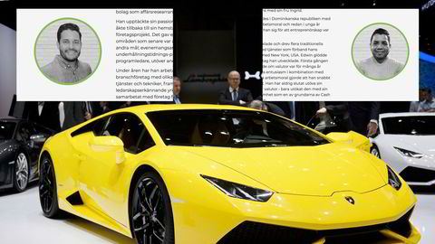 Huascar Lopez (innfelt til venstre) og Edwin Abad (høyre) er de to grunnleggerne av Cash FX Group, ifølge selskapets hjemmeside. Blir man global ambassadør i Cash FX Group (CFX), kan man få en Lamborghini, ifølge selskapets presentasjonsmateriale. Dette er en Lamborghini Huracan, som ligner den modellen CFX viser til.