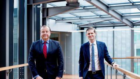 Finansdirektør Henrik Schibler (til høyre) sikret seg en fet bonus etter fjorårets børsnotering av Evry. Her fotografert sammen med selskapets konserndirektør Bjørn Ivroth.