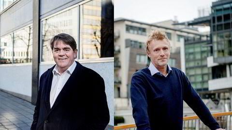 Jan Petter Sissener (til venstre) og Martin Mølsæter har kastet seg over to av børsens nyeste medlemmer, Sats og Norske Skog.