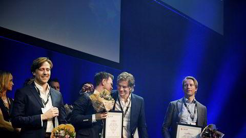 Fra venstre: Det var Fredrik Solstad, Kjetil Sæter, Knut Gjernes og Lars Kristian Solem som sto bak Boligbygg-saken.