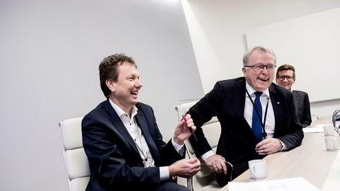Statoil-sjef Eldar Sætre (midten) annonserte i november at Statoil skal bygge opp et supersenter for digitalisering. Driftsteknologisjef Kjetil Hove (til venstre) er sentral i prosjektet. Til høyre, rådgiver Glenn Harald Eide.