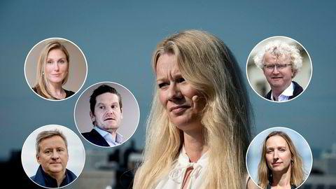 Økonomene mener innhentingen etter koronakrisen vil ta noe lengre tid enn det SSB anslår. Her Erica Blomgren (fra venstre), Kjetil Olsen, Frank Jullum, Kari Due-Andresen, Jan Ludvig Andreassen og Kjersti Haugland.