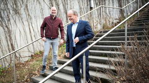 Administrerende direktør Jonas Rinde (til venstre) og styremedlem Torkjell Johan Nilsen i Huddly har nylig hentet 80 millioner kroner til selskapet gjennom emisjon.