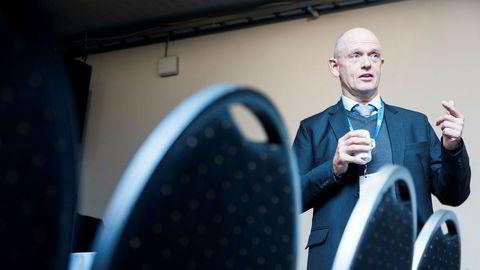 Konsernsjef Ståle Kyllingstad i IKM Gruppen leverer klar tale under DNs energiseminar her i Gamle museet i Oslo.