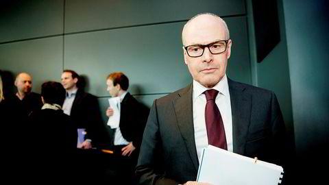 Morten Karlsen Sørby (60) ble takket av med en sluttpakke på 7,1 millioner kroner etter 26 år i konsernet. Her fra en tidligere kvartalspresentasjon hos Telenor på Fornebu.