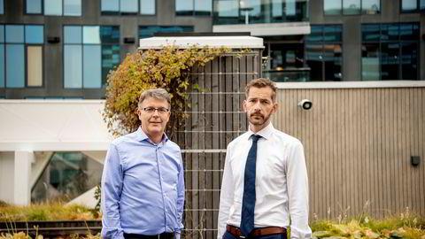 Sjur Gaaseide, administrerende direktør i Deloitte (til venstre) og Thomas Eitzen, sjef for kredittanalyse i SEB.
