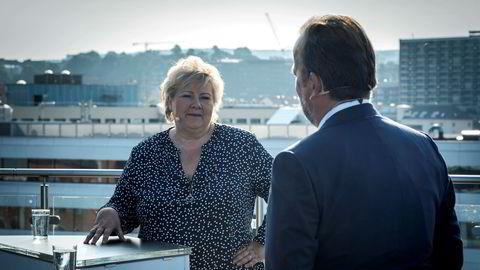 Statsminister Erna Solberg i Frokost uten filter med DNs politiske redaktør Frithjof Jacobsen. Foto: Hanna Kristin Hjardar