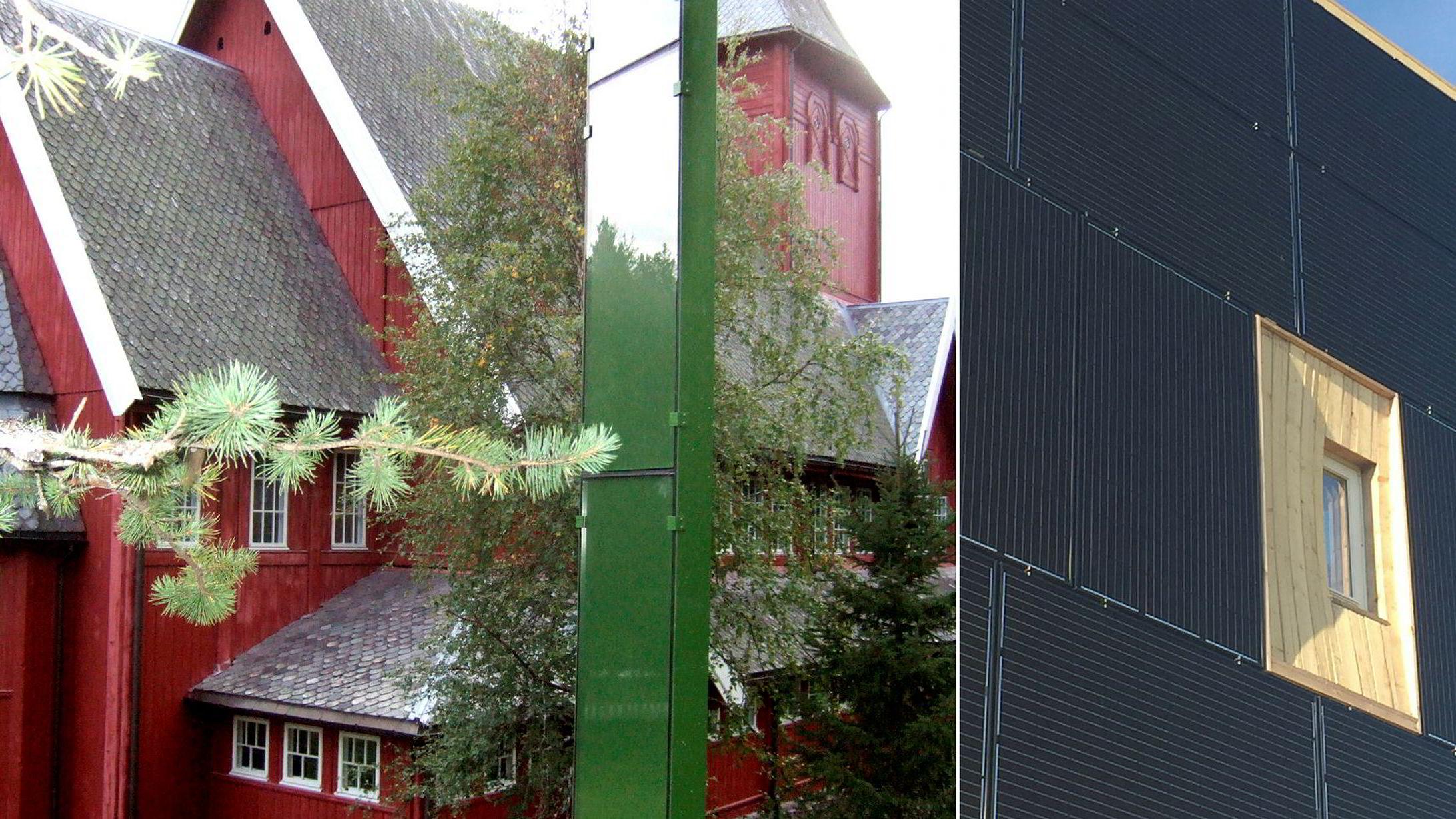 Her et eksempel på On site, solfangeranlegg i avstand fra den vernede Hol Kirke, og et eksempel på Within, solfangeranlegg i fasaden som erstatter andre tradisjonelle fasadematerialerpå en bolig i Kolnes i Randaberg, for eksempel metaller og stein som ofte er mer kostbare enn solceller.