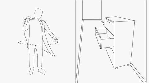 Plasskrevende. Læren om kroppsmåling brukes for å skape funksjonelle møbler og miljøer. En kommode i en trang gang kan fort bli til et irritasjonsmoment. Husk at både kroppen din og skuffene krever plass hver gang du skal finne noe.