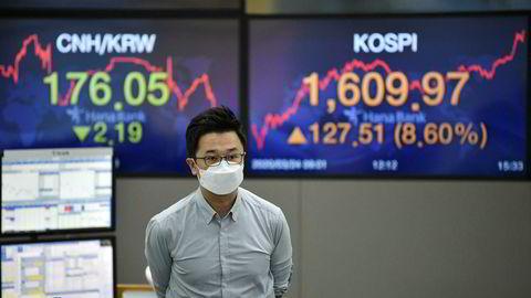 Seoul-børsen i Sør-Korea steg med over åtte prosent på tirsdag. Oppgangen fortsetter i Asia i morgentimene på onsdag.
