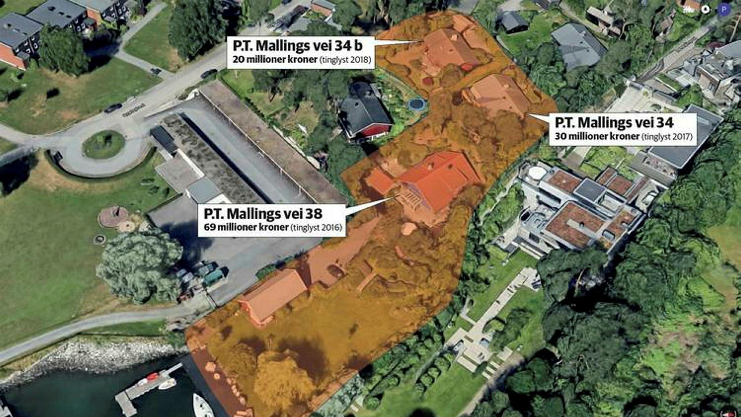 Nummer 34 og 38 i P.T. Mallings vei skal slås sammen, og hoveddelen ligge omtrent der nummer 38 ligger i dag, med en korridor tilbake til en mindre del, omtrent der nummer 34 ligger nå. Nummer 34B skal ifølge planen være en egen enhet på omtrent samme sted, men med kortenden mot havet.