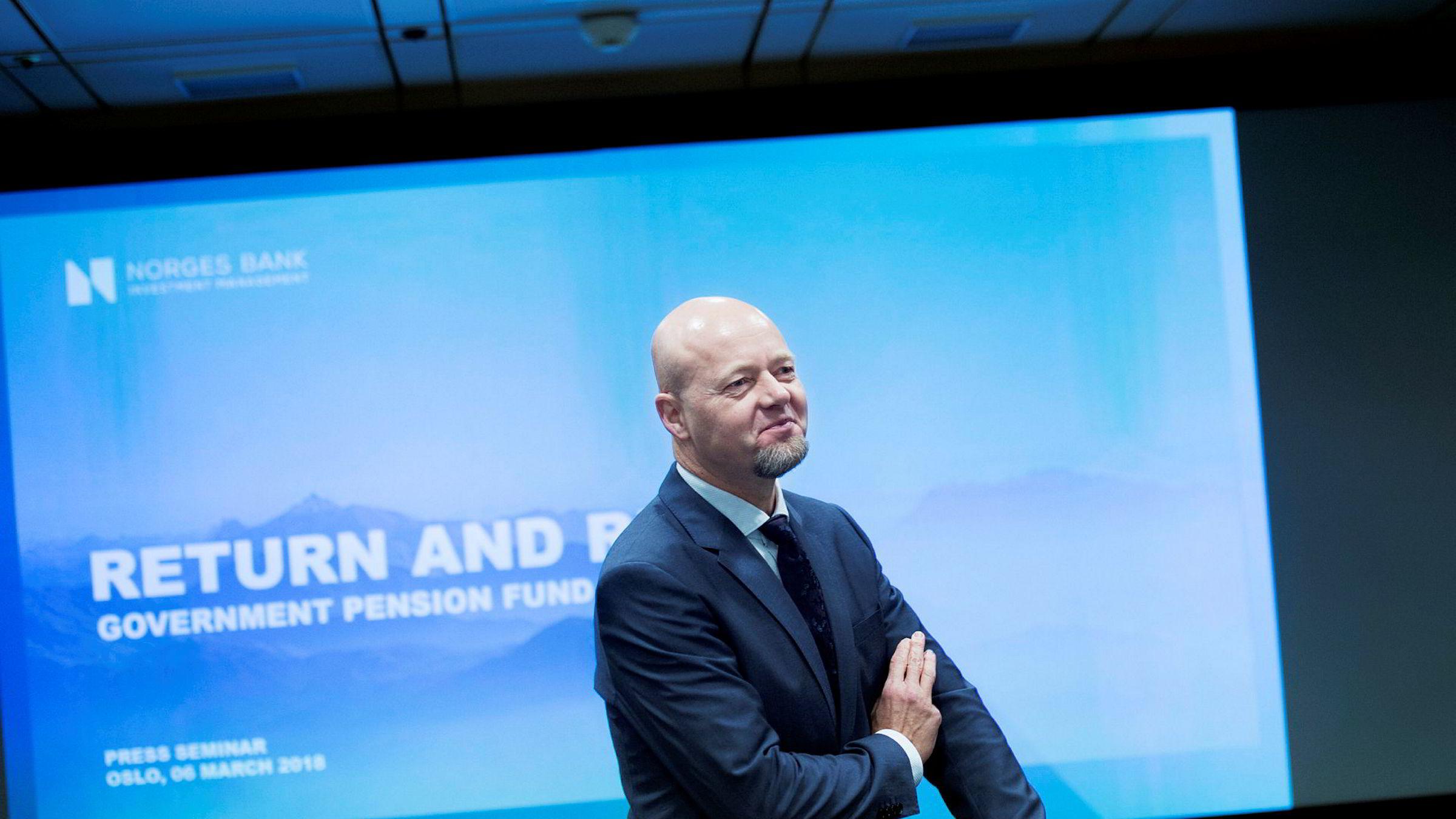 Yngve Slyngstad la frem Oljefondets rapport om avkastning og risiko.