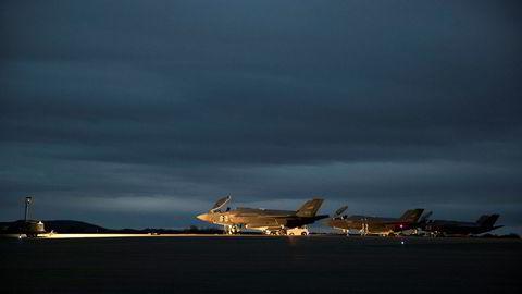 Forsvarets tre første F35 da de landet på Ørlandet flyplass da de ankom i 2017.