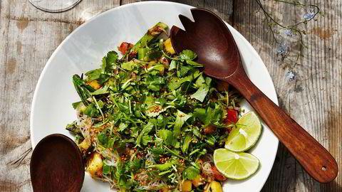 Hverdagsgodt. – Når jeg egentlig er mett, har jeg lyst på mer. Så det ender med at jeg spiser opp alt, sier kokk Hanne Rutgerson om sin egen kreasjon av grillet aubergine og glassnudler.