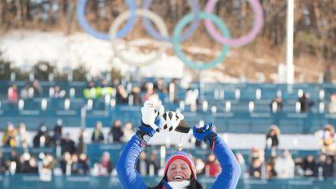 Marit Bjørgen tar OL-gull i klassisk 30 km i Alpensia Cross-Country Skiing Centre under vinter-OL i Pyeongchang. Vinterlekene ga også tv-gull til rettighetshaver Discovery Networks.