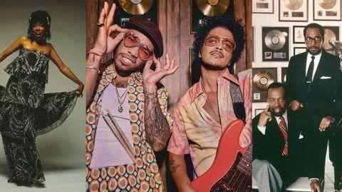 Klassisk soul, før og nå: Jean Carn (fra venstre), Anderson Paak og Bruno Mars i Silk Sonic, samt Leon Huff og Kenny Gamble i Philadelphia International Records.