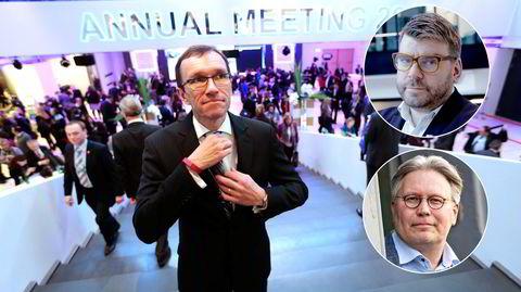 Espen Barth Eide (Ap) på World Economic Forum i Davos. Innfelt: Sjefredaktør i Bergensavisen Sigvald Sveinbjørnsson og Skjalg Fjellheim, politisk redaktør i Nordlys.