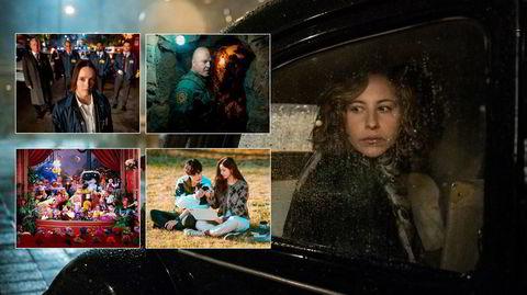 Kommer på den lille skjermen i februar: «Fortell meg hvem jeg er» (stort bilde), samt «Clarice» (med klokken), «Coyote», «Run On» og «The Muppet Show».