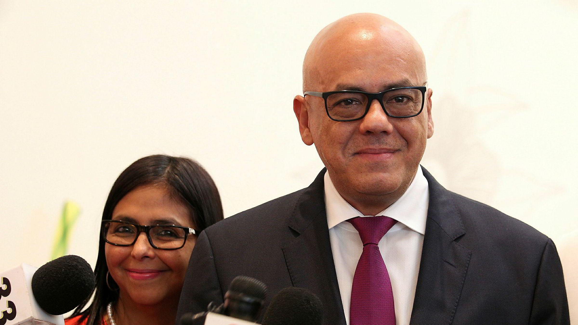 Venezuelanske myndigheters delegat, borgermester Jorge Rodriguez i hovedstaden Caracas, er optimistisk om de igangsatte forhandlingene.