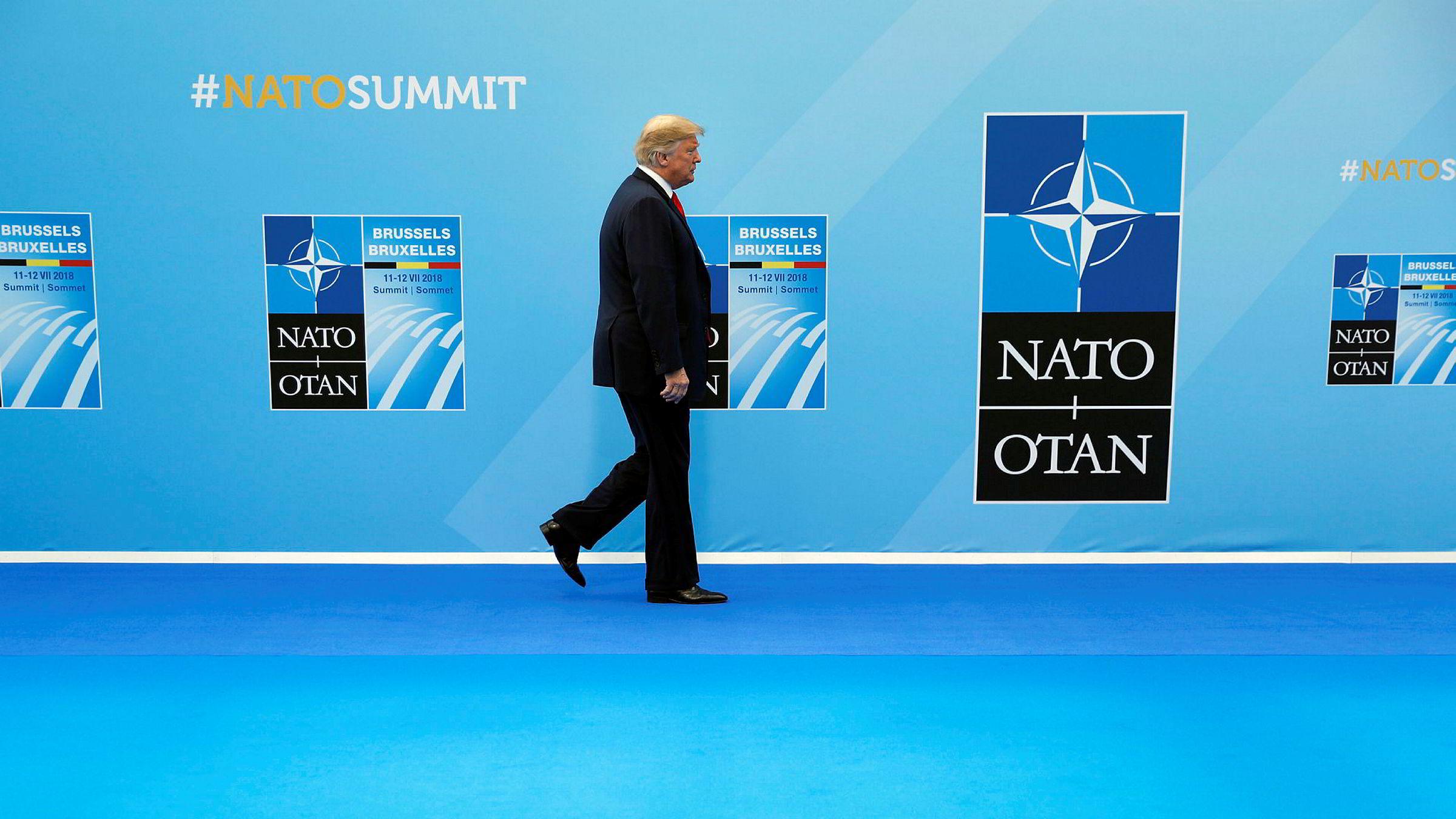 USAs president Donald Trump fotografert på Nato-toppmøtet i Brussel, Belgia.