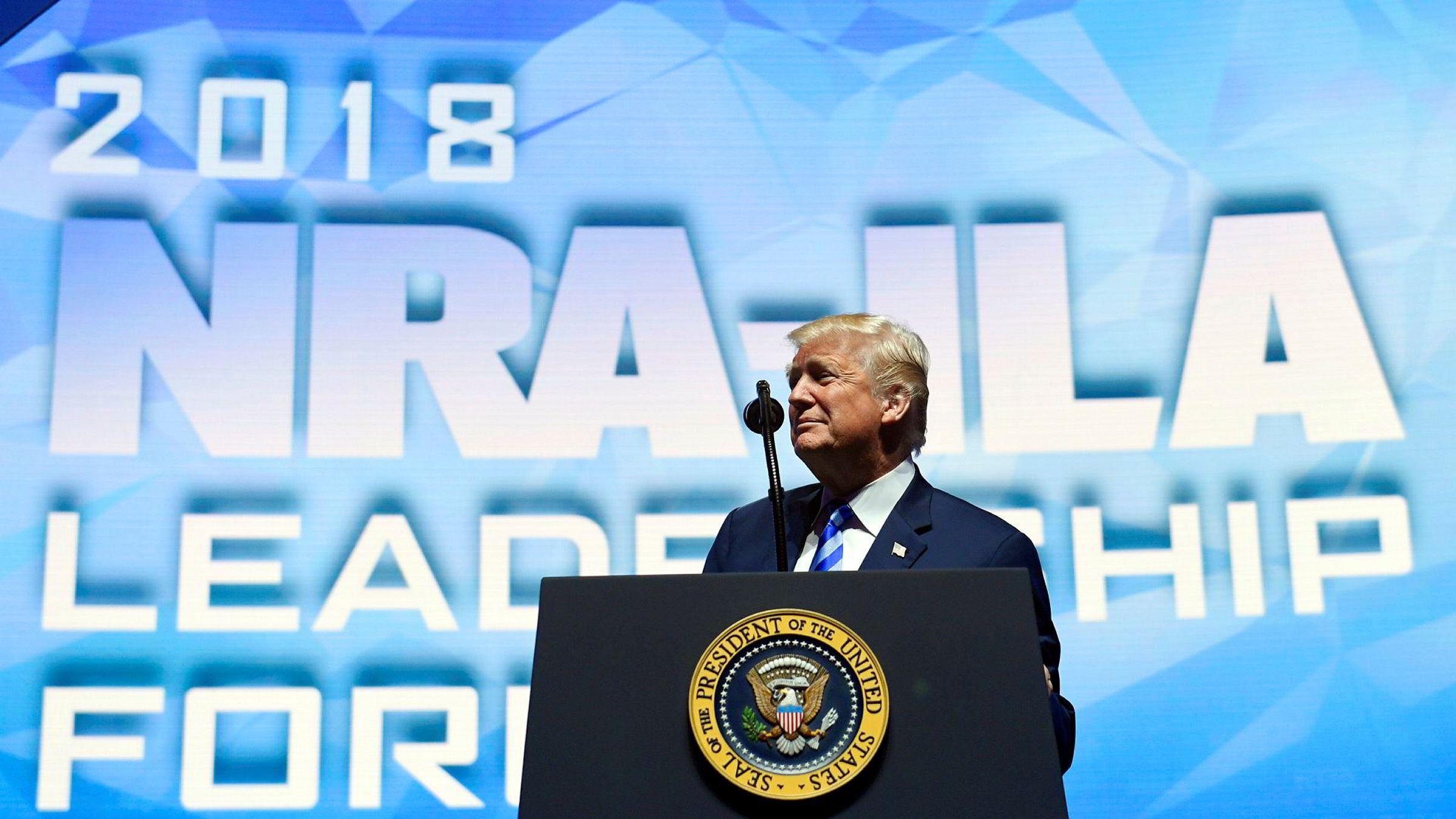 President Donald Trump talte på årsmøte til National Rifle Association (NRA) i Dallas fredag.