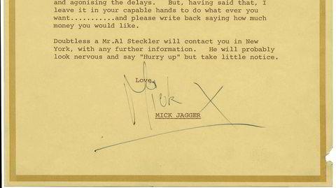 Start Me Up. Mick Jagger i hyggelig lune ved skrivebordet. Hentet fra Shaun Ushers «Bemerkelsesverdige brev», den norske utgaven av «Letters of Note» fra 2016.