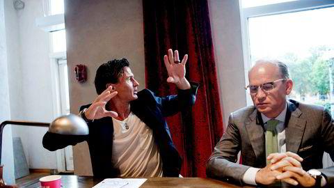 Petter A. Stordalen (til venstre) og Nordic Choice-sjef Torgeir Silseth har sikret hotellkjeden finansiering gjennom og ut av koronakrisen.
