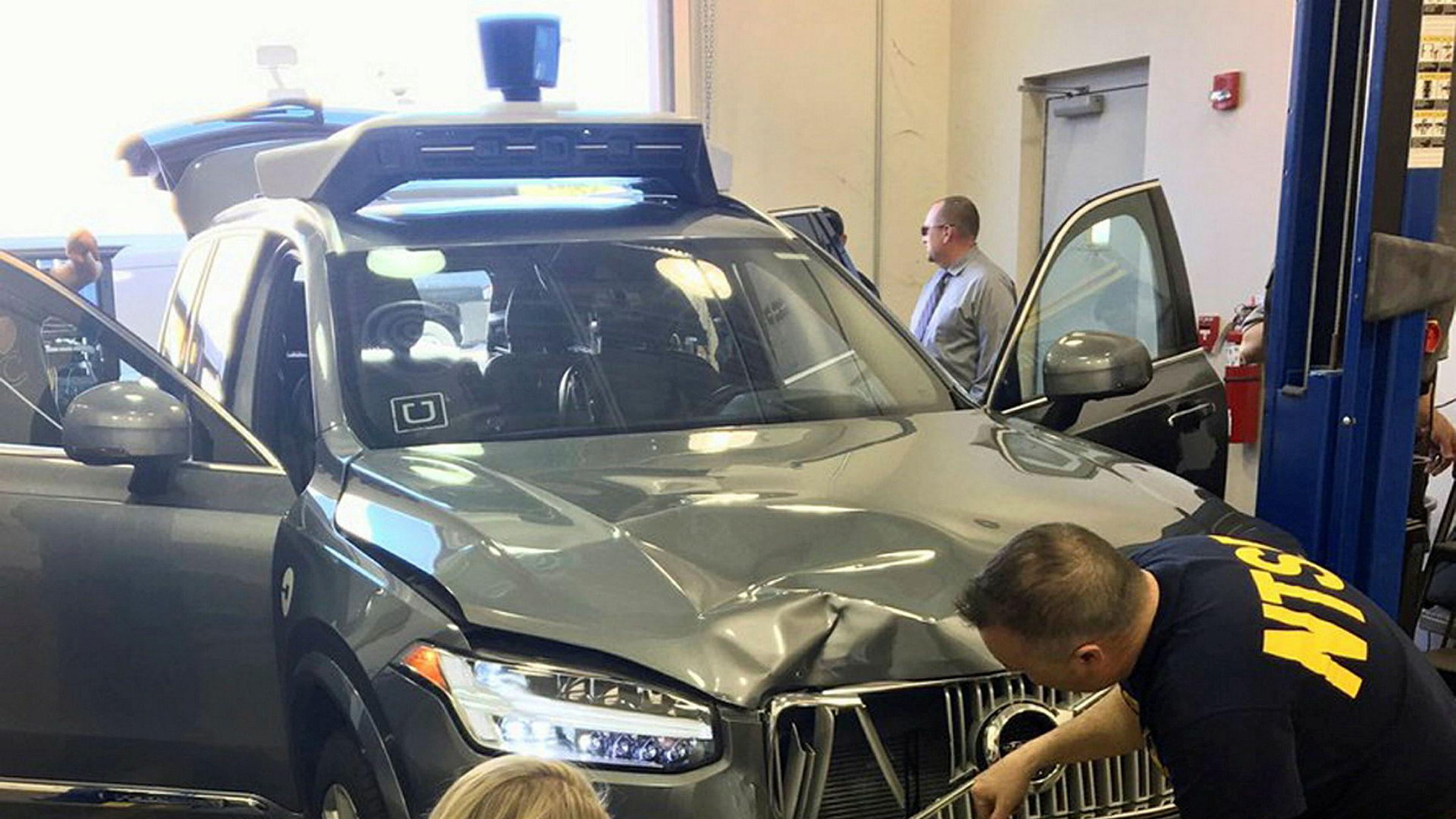 Ubers selvkjørende bil, som var involvert i en dødsulykke forrige søndag.