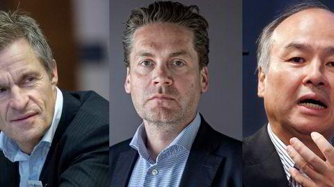 Kahoots tre største aksjonærer, toppsjef Eilert Hanoa (midten), milliardær Jan Haudemann-Andersen (t.v.) og Softbank ved toppsjef Masayoshi Son (t.h.), har sett aksjekursen falle rundt 70 prosent siden toppen i januar.