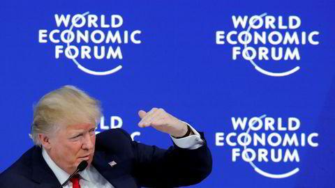 Davos-publikumet fikk møte selgeren og forretningsmannen Donald Trump, på utkikk etter nye investeringer i USA.