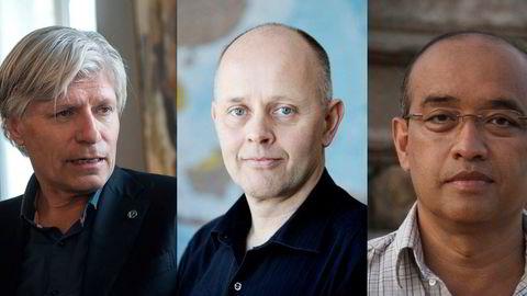 Ola Elvestuen (t.v.), Kristian Stokke og Maung Maung Myint peker på konsekvensene av Telenor-exiten.