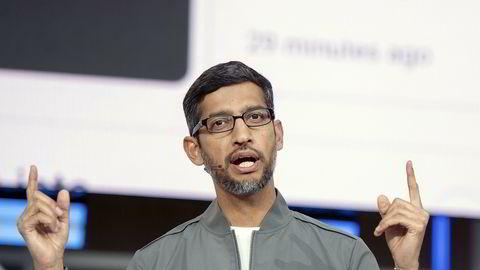Konsernsjef Sundar Pichai i Alphabet, Googles morselskap, oppfordrer alle om å holde avstand i sosiale sammenhenger for å hundre spredning av koronaviruset.