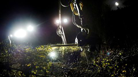Det finnes ikke store mengder rester fra skogindustrien som i dag ikke anvendes til noe. Dette er verdifulle ressurser som allerede brukes til en rekke formål, skriver Bjart Holtsmark i innlegget. Her rydder firmaet Baneteknikk langs togskinner ved Minnesund.