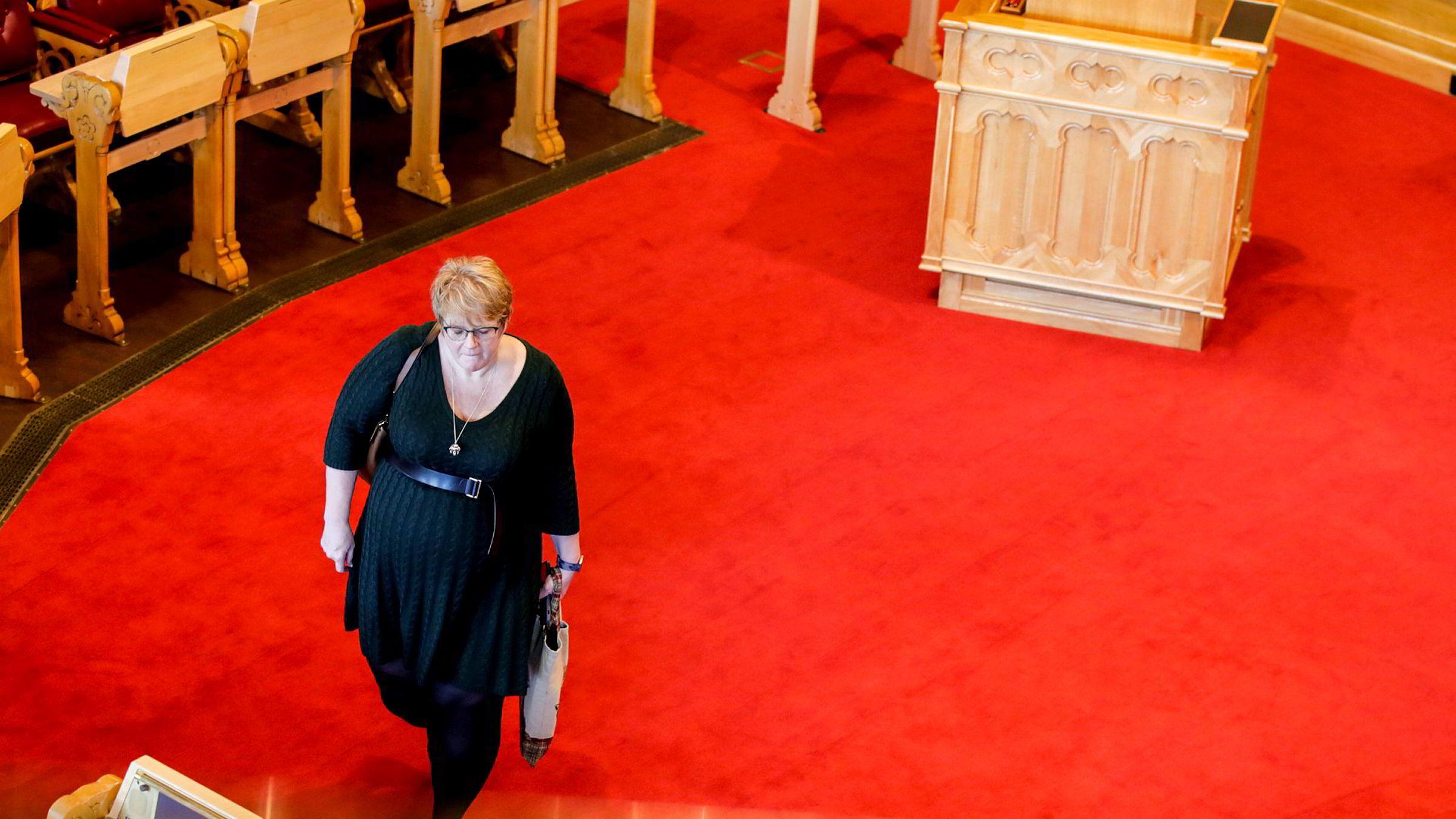 Trine Skei Grande går av som Venstre-leder og statsråd. Her er hun på Stortinget under spørretimen i dag. Foto: Vidar Ruud/NTB Scanpix