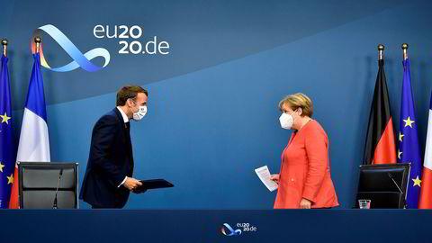 Forbundskansler Angela Merkel og Frankrikes president Emmanuel Macron i Brussel 21. juli.