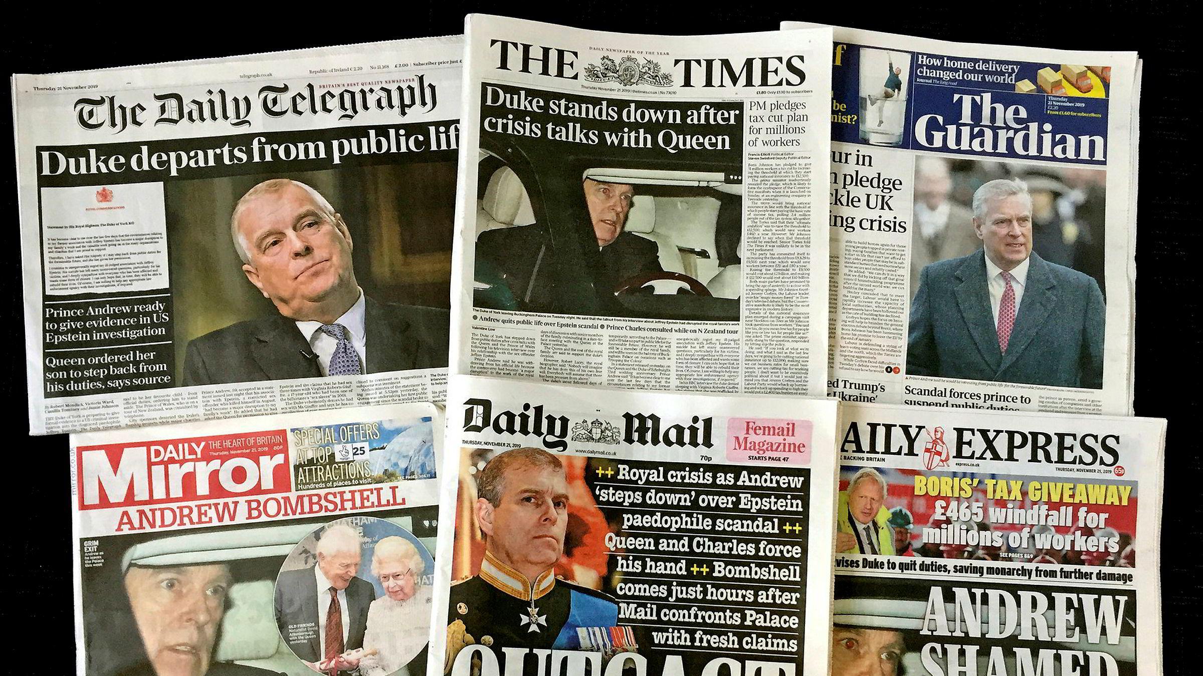 Torsdagsutgaven av de store britiske avisene var ikke nådige etter at det ble kjent at prins Andrew trekker seg fra alle offentlige oppdrag for det britiske kongehuset.
