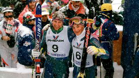 Gullduo. Lasse Kjus og Kjetil André Aamodt var blant dem som løftet den norske alpinsporten til nye høyder på 1990-tallet. Her fra alpin-VM i japanske Morioka i 1993, hvor Kjus tok gullet og Aamodt sølvet.