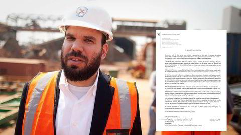 Dan Gertler ved en gruve i Kongo, landet der han har tjent store penger. Innfelt er brevet nordmannen Tor Wennesland skrev om Gertlers innsats for Norge i 2019.