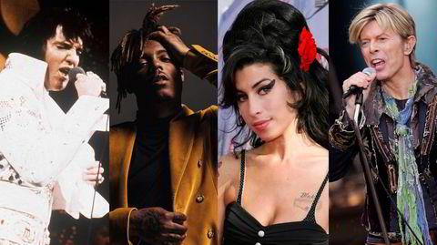 Det er et liv etter døden, i alle fall som suksessfull artist: Elvis Presley (fra venstre), Juice Wrld, Amy Winehouse og David Bowie er stadig aktuelle med nye utgivelser.