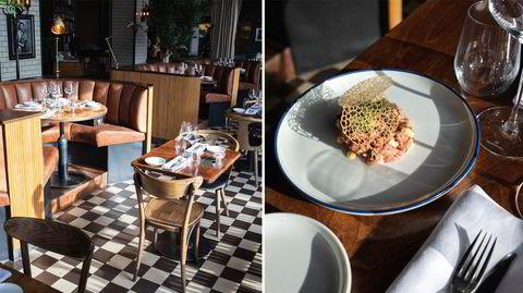 Grønne planter og sjakkmønstret gulv, klassisk Fransk stil på Brasserie Coucou.