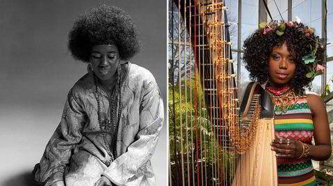 It's the harps! Det legendariske plateselskapet Impulse, som blant annet utga musikken til Alice Coltrane (til venstre) og ektemannen John, markerer 60-årsjubileum med nye talenter som Brandee Younger.