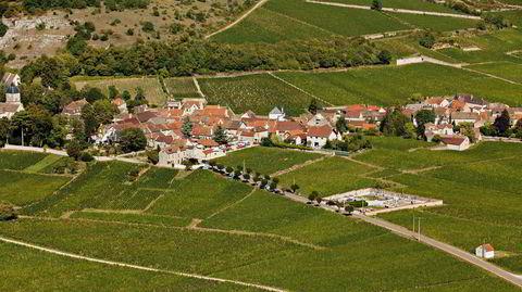 Landsbyen Chambolle-Musigny omkranset av noen av verdens mest berømte og kostbare vinmarker.
